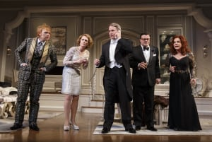 "Rupert Grint, Megan Mullally, Mathew Broderick, Nathan Lane & Stockard Channing in ""It's Only A Play"" (photo: Joan Marcus)"