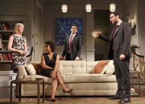 "Gretchen Mol, Karen Pittman, Hari Dhillon & Josh Radnor in ""Disgraced"" (photo: Joan Marcus)"