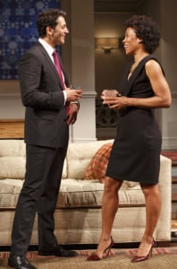 "Hari Dhillon & Karen Pittman in ""Disgraced"" (photo: Joan Marcus)"