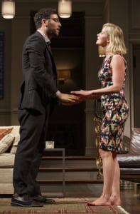 "Josh Radnor & Gretchen Mol in ""Disgraced"" (photo: Joan Marcus)"