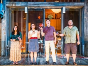 "America Ferrera, Tracee Chimo, Austin Lysy & Michael Chernus in ""Lips Together, Teeth Apart"" (photo: Joan Marcus)"