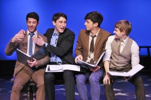 "Matthew Bauman, Ben Fankhauser, Jeremy Greenbaum & Andrew Keenan-Bolger in ""Saturday Night"" (photo: Jenny Anderson)"