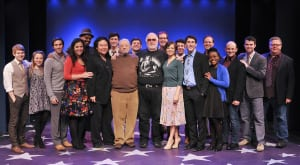 "Stafford Arima (Director), Stephen Sondheim (Composer) & Paul Gemignani (Musical Supervisor) - all center -  with the company of ""Saturday Night"" - James Morgan (Producing Artistic Director) - far right (photo: Jenny Anderson)"