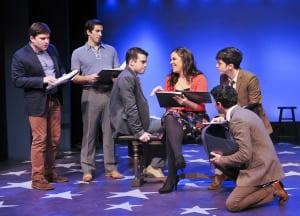 "Jared Loftin, Matthew Scott, Greg Kamp, Lindsay Mendez, Jeremy Greenbaum & Matthew Bauman in ""Saturday Night"" (photo: Jenny Anderson)"